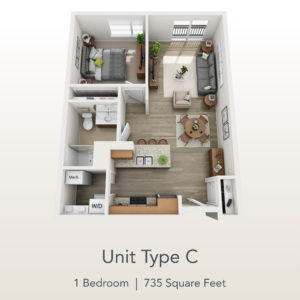 1 bedroom unit C