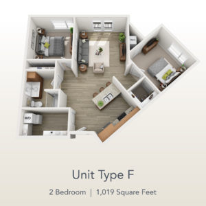 2 bedroom unit F